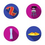 Persian carpet, dunes in the desert, Shanghai Tower, oil well.Arab emirates set collection icons in flat style vector Stock Image