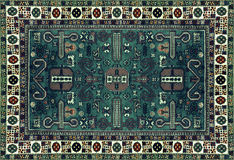 Persian Carpet Texture, abstract ornament. Round mandala pattern, Eastern Traditional Carpet surface. Turquoise green red maroon o royalty free stock photo