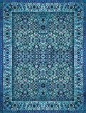 Persian Carpet Texture, abstract ornament. Round mandala pattern, Middle Eastern Traditional Carpet Fabric Texture. Turquoise milk stock photo