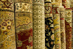 Persian carpets on display Royalty Free Stock Images