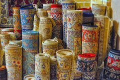 Persian carpets. Rolls of persian carpets in Iran Stock Photography