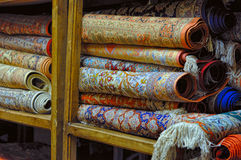 Persian carpets. Rolls of persian carpets in Iran Royalty Free Stock Image