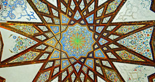 Persian Ceiling Mural Paintings with Gold and Silver Plates Decorations Royalty Free Stock Photography