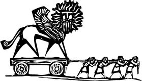 Persian Empire Building. Woodcut style expressionist image of slaves hauling a winged chimera statue Stock Photos