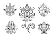 Persian floral paisley embellishments Stock Photos