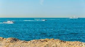 Persian Gulf near Palm Jumeirah island in Dubai Stock Images