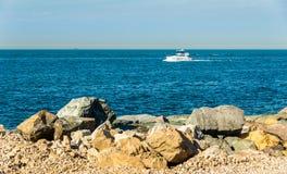 Persian Gulf near Palm Jumeirah island in Dubai Stock Photography