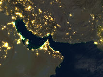 Persian Gulf at night on planet Earth Stock Images