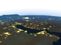 Persian Gulf at night on planet Earth Stock Photography
