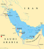 Persian Gulf region political map Royalty Free Stock Photography