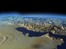 Persian Gulf from space on early morning Stock Image