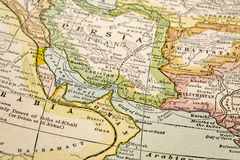 Persian Gulf on vintage map Stock Images
