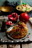 Persian Honey Glazed Chicken and Jeweled Rice. Selective focus Stock Photos