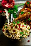 Persian Honey Glazed Chicken and Jeweled Rice. Selective focus Stock Image