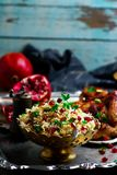 Persian Honey Glazed Chicken and Jeweled Rice. Selective focus Royalty Free Stock Photos