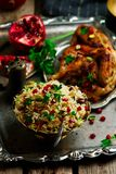 Persian Honey Glazed Chicken and Jeweled Rice. Selective focus Stock Photo