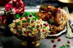 Persian Honey Glazed Chicken and Jeweled Rice. Selective focus Stock Images