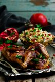 Persian Honey Glazed Chicken and Jeweled Rice. Selective focus Royalty Free Stock Images