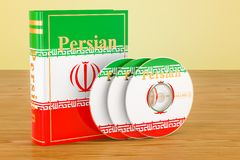 Persian language textbook with flag of Iran and CD discs on the. Wooden table. 3D Royalty Free Stock Image