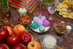 Persian New Year Table Nowruz. The Haft-Seen is a traditional Iranian table arrangement put together for the Persian New Year. This image is an authentic Haft stock images