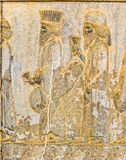 Persian noblemen relief detail Persepolis Royalty Free Stock Photos