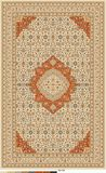 Persian carpet design edited in blue beige and dark orange color. Persian oriental carpet design with intricate flower details and motifs. very traditional stock illustration