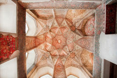 Persian patterns on the ceiling of Persian palace with historical artworks Royalty Free Stock Photos