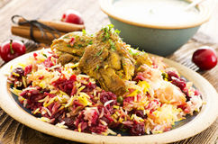 Persian Polo with Sour Cherries and Chicken Royalty Free Stock Photography