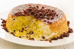 Persian Saffron Rice with Berberis Sereshk Polo stock photos