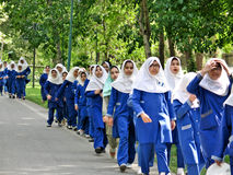 Persian shool girls. Young girls from Iran with iniforms out on a class outing Stock Photo