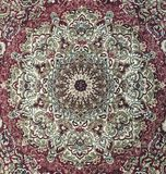 Persian style rug design - circular red carpet Royalty Free Stock Image