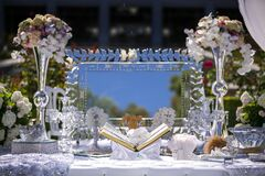 Free Persian Wedding Setting At An Alter With The Book Of Poetry And Other Decor Stock Photo - 190731290