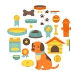Persiga a coleção do material, brinquedos do cão, alimento para cães, casa de cachorro Fotografia de Stock Royalty Free