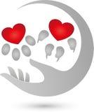 Persiga la pata y la pata del gato, corazón para el logotipo de los animales ilustración del vector
