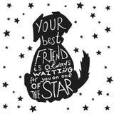 Persiga la tarjeta sucia de los amigos para el día de la amistad con cita Fotografía de archivo libre de regalías