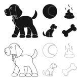 Persiga sentarse, situación del perro, pelota de tenis, heces Iconos determinados en negro, acción de la colección del perro del  ilustración del vector