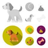 Persiga sentarse, situación del perro, pelota de tenis, heces Iconos determinados de la colección del perro en la acción monocrom stock de ilustración