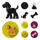 Persiga sentarse, situación del perro, pelota de tenis, heces Iconos determinados de la colección del perro en la acción negra, p libre illustration