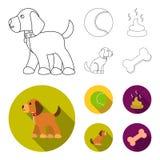 Persiga sentarse, situación del perro, pelota de tenis, heces Iconos determinados de la colección del perro en el esquema, acción libre illustration