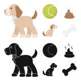 Persiga sentarse, situación del perro, pelota de tenis, heces Iconos determinados de la colección del perro en la historieta, acc libre illustration
