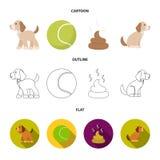 Persiga sentarse, situación del perro, pelota de tenis, heces Iconos determinados de la colección del perro en la historieta, esq libre illustration