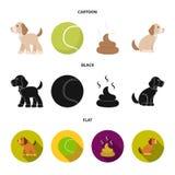 Persiga sentarse, situación del perro, pelota de tenis, heces Iconos determinados de la colección del perro en la historieta, neg ilustración del vector