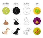 Persiga sentarse, situación del perro, pelota de tenis, heces Iconos determinados de la colección del perro en la historieta, neg stock de ilustración