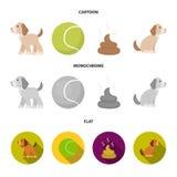 Persiga sentarse, situación del perro, pelota de tenis, heces Iconos determinados de la colección del perro en la historieta, sím stock de ilustración