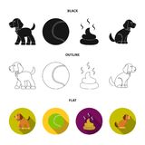 Persiga sentarse, situación del perro, pelota de tenis, heces Iconos determinados de la colección del perro en negro, plano, acci stock de ilustración