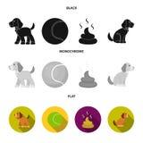 Persiga sentarse, situación del perro, pelota de tenis, heces Iconos determinados de la colección del perro en símbolo negro, pla libre illustration