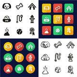 Persiga todos en los iconos uno negros y el diseño plano del color blanco fijado a pulso Foto de archivo