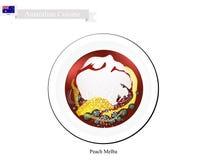 Persika Melba Ice Cream, en berömd australisk efterrätt stock illustrationer