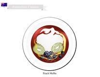 Persika Melba Ice Cream, en berömd australisk efterrätt vektor illustrationer