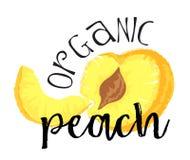 Persikafruktetikett och klistermärke - organisk persika Royaltyfri Foto